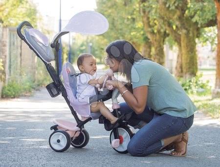 Tříkolky - Tříkolka a kočárek v jednom s brzdou Baby Driver Plus Pink Smoby s EVA koly a intuitivním ovládáním růžová od 10 měsíců_1