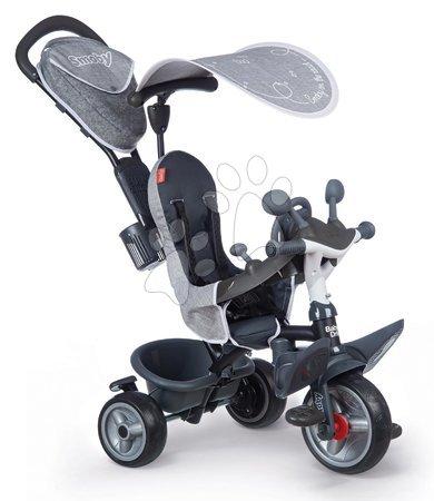 Tříkolky - Tříkolka a kočárek v jednom s brzdou Baby Driver Plus Grey Smoby s EVA koly a intuitivním ovládáním šedá od 10 měsíců