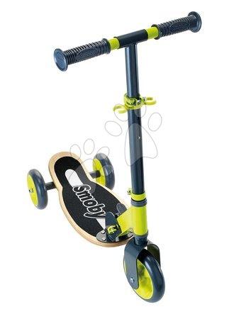 Trotinete - Trotinetă din lemn cu trei roţi Wooden Scooter Smoby pliabilă şi reglabilă în înălţime de la 3 ani