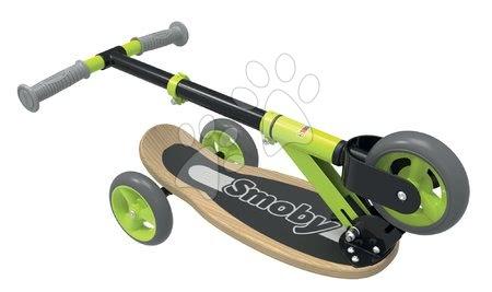 Trotinete - Trotinetă din lemn cu trei roţi Wooden Scooter Smoby pliabilă şi reglabilă în înălţime de la 3 ani_1