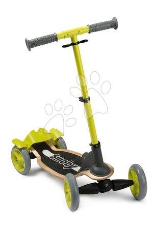 Drevená kolobežka štvorkolesová Wooden Scooter Smoby s intuitívnym ovládaním a výškovo nastaviteľná od 5 rokov