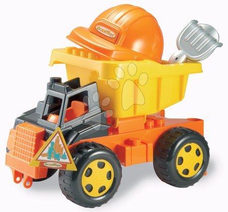 Kültéri játékok - Autó homokozóba Écoiffier sisakkal és szerszámokkal (hossza 42,5 cm) 18 hó-tól