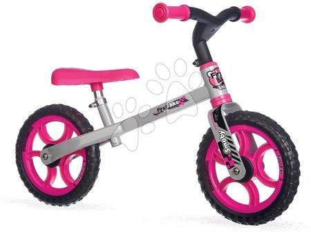 Bicicletă fără pedale First Bike Smoby cu scaun reglabil în înălțime roz-negru de la 18 luni