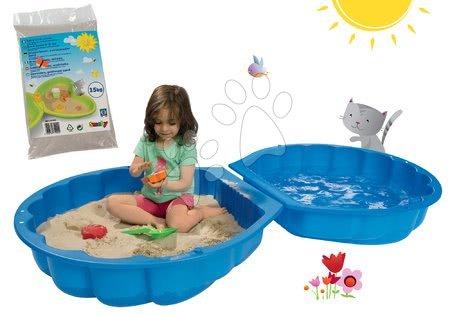 Nisipare pentru copii - Set nisipar Scoică BIG cu două părţi şi nisip igienic de jucărie pentru nisipar 15 kg de la 18 luni