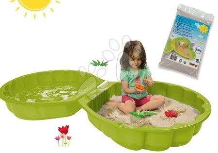 Set pieskovisko mušľa dvojdielne Watershell Green BIG zelené a hygienický piesok pre najmenších 15 kg BIG7723-1