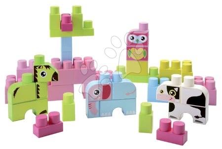 Razvoj čutov in motorike - Otroške kocke Maxi Abrick Živalce Écoiffier rožnat zaboj 50 delov od 12 mes_1