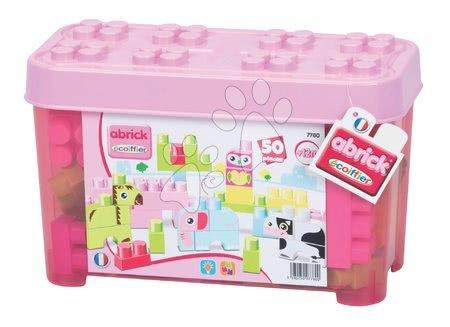 Razvoj čutov in motorike - Otroške kocke Maxi Abrick Živalce Écoiffier rožnat zaboj 50 delov od 12 mes
