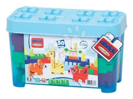 Razvoj čutov in motorike - Otroške kocke Maxi Abrick Živalce Écoiffier moder zaboj 50 delov od 12 mes