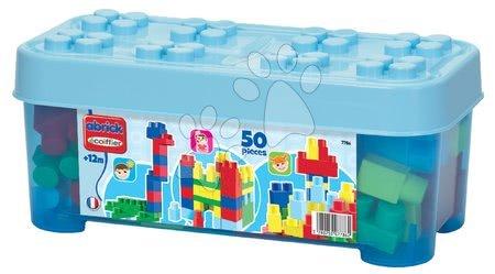 Razvoj čutov in motorike - Otroške kocke Maxi Abrick Écoiffier velike kocke v škatli modre 50 delov od 12 mes