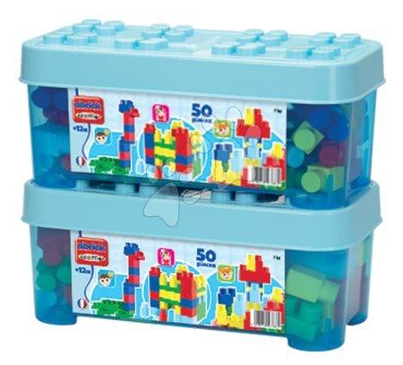 Razvoj čutov in motorike - Otroške kocke Maxi Abrick Écoiffier velike kocke v škatli modre 50 delov od 12 mes_1