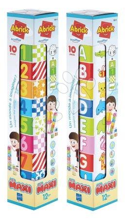 Razvoj čutov in motorike - Kocke za dojenčke Les Maxi Tower Écoiffier 10 kock s sličicami črk in številk od 12 mes