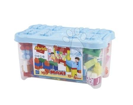 Hračky pro nejmenší - Stavebnice pro miminka Les Maxi Écoiffier dóza 100 kostek s obrázky, písmeny a čísly od 12 měsíců