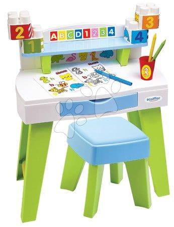 Miza za risanje in ustvarjanje My Very First Desk Maxi Abrick Écoiffier s stolčkom in pobarvanke s kockami od 12-36 mes