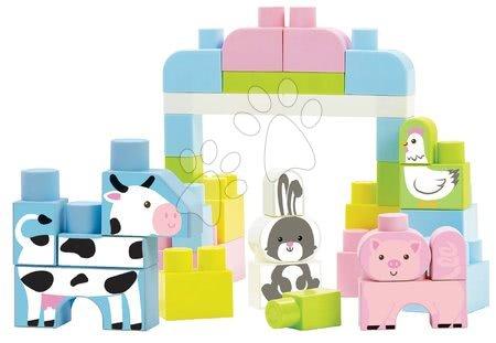 Hračky pro nejmenší - Stavebnice v dóze se zvířátky Farm Animals Barrel Les Maxi Abrick Écoiffier růžová s 50 kostkami od 12 měsíců