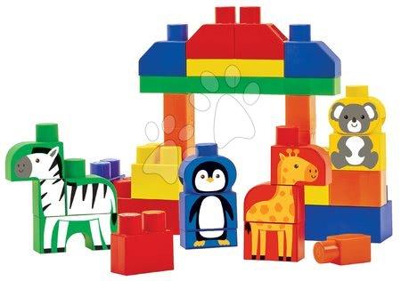 Hračky pro nejmenší - Stavebnica v dóze so zvieratkami Zoo Animals Barrel Maxi Abrick Ecoiffier žltá s 50 kockami od 12 mes ECO7881