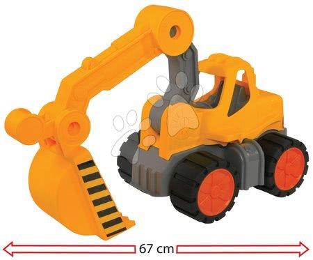 Autíčka a trenažéry - Bagr Digger Power Worker BIG pracovní stroj 67 cm – gumová kola od 2 let
