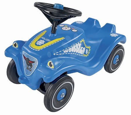 Odrážadlá - Odrážadlo auto Bobby Car Classic Police BIG modré so zvukom a svetlom a s nálepkami v rôznych jazykoch od 12 mes