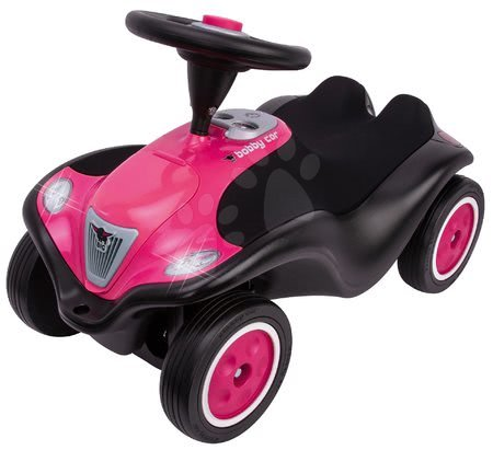 Babytaxiu Bobby Car Next Raspberry BIG faruri LED, claxon electronic, scaun ergonomic cu velur de la 12 luni