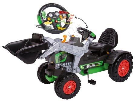 BIG - Szett pedálos traktor homlokrakodóval Jim Turbo BIG interaktív kormánnyal és utánfutóval_1