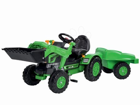 Tractor cu pedale Jim Loader BIG cu încărcător frontal şi cu remorcă verde
