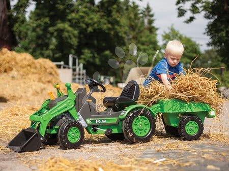 BIG - Traktor pedálos Jim Loader BIG homlokrakodóval és utánfutóval zöld_1