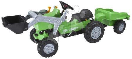 BIG - Pedálos traktor Jimmy BIG homlokrakodóval és pótkocsival zöld_1