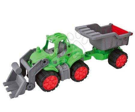 Tractor Power BIG cu încărcător frontal şi cu remorcă verde de la 24 luni