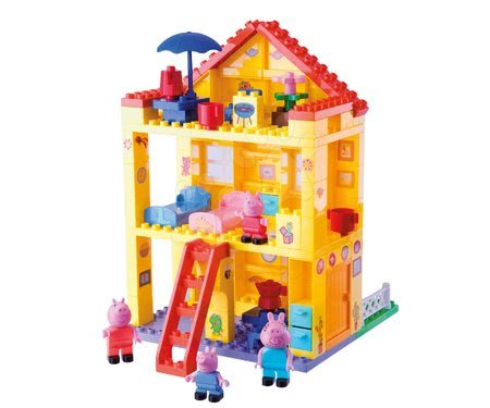 Peppa Pig - Építőjáték Peppa Pig család a házikóban PlayBIG Bloxx BIG 4 figurával 107 részes