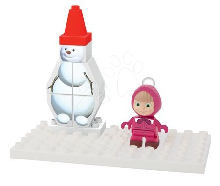 Mása és a medve - Építőjáték Masha és a medve Hóemberrel PlayBIG Bloxx BIG 9-14 darab 18 hó-tól
