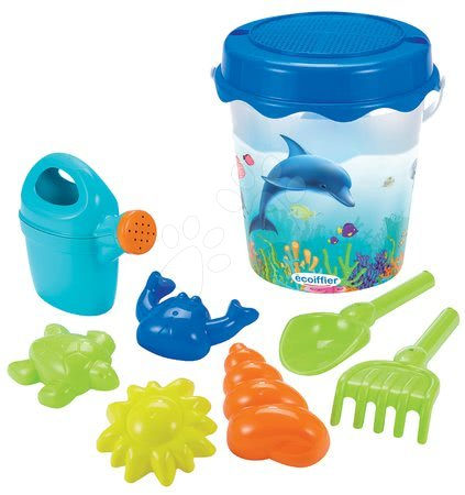 Kültéri játékok - Vödör homokozóba Delfin Écoiffier 23 cm, locsolókannával, 6-darabos 18 hó-tól