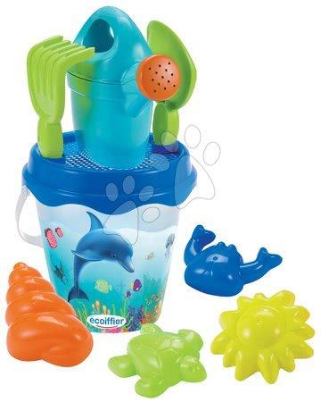 Kültéri játékok - Vödör homokozóba Delfin Écoiffier 23 cm, locsolókannával, 6-darabos 18 hó-tól_1