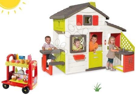 Jucării pentru fetițe - Set căsuţă Prieteni cu bucătărie Smoby cu sonerie, cărucior, îngheţată şi hamburger