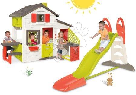 Hišice s toboganom - Komplet hišica Prijateljev Smoby s kuhinjo in z zvoncem in tobogan Toboggan XL z dolžino 2,3 m