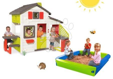 Hračky pre chlapcov - Set domček Priateľov Smoby s kuchynkou a zvončekom a pieskovisko BIG s krycou plachtou