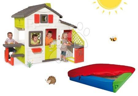 Hračky pre chlapcov - Set domček Priateľov Smoby s kuchynkou a zvončekom a pieskovisko BIG s krycou plachtou_1