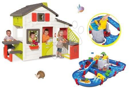 Hračky pre chlapcov - Set domček Priateľov Smoby s kuchynkou a zvončekom a vodná dráha Aquaplay Mountain Lake
