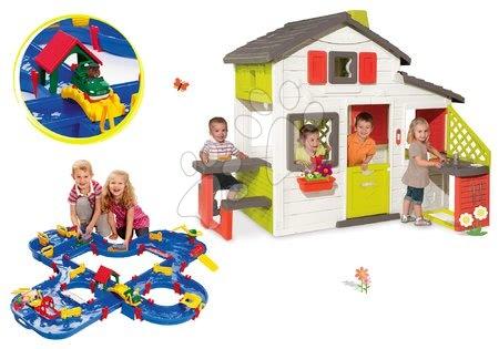 Jucării pentru fetițe - Set căsuţă Prieteni Smoby cu bucătărie mică, cu sonerie şi pistă de apă AquaPlay 'n Go în valiză
