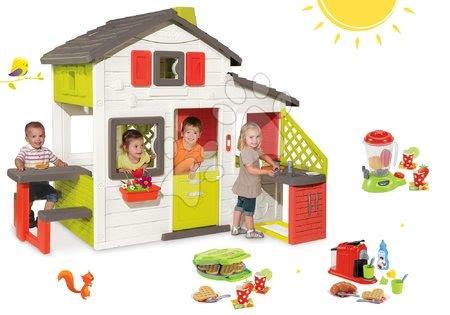 Jucării pentru fetițe - Set căsuţă Prieteni Smoby cu bucătărie mică, cu sonerie şi aparat de gofree cu mixer, cu aparat de cafea şi gofriuri