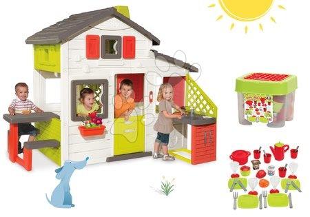 Jucării pentru fetițe - Set căsuţă Prieteni Smoby cu bucătărie mică, cu sonerie şi set de veselă în cutie pentru depozitare cu accesorii