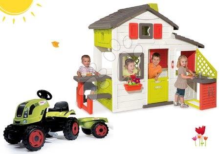 Szett házikó Barátok Smoby konyhával és csengővel és traktor Claas Farmer utánfutóval