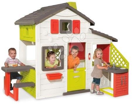 Házikó Barátok Smoby konyhasarokkal és elektronikus csengővel