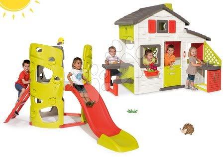 Set kućica Prijatelja Smoby s kuhinjom i zvoncem i penjalica Multiactivity Climbing Tower Smoby s toboganom