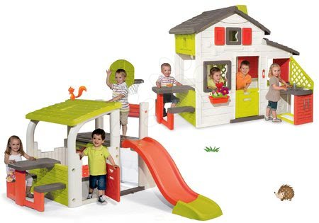 Set căsuţă Prieteni Smoby cu bucătărie cu sonerie şi centru de joacă cu tobogan Fun Center