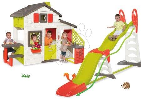 Jucării pentru fetițe - Set căsuţă Prietenilor Smoby cu bucătărie de jucărie, sonerie şi tobogan Super Megagliss 2in1