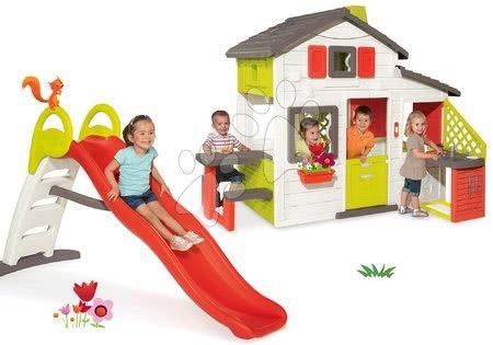 Hišice s toboganom - Komplet hišica Prijateljev Smoby s kuhinjo in tobogan z vodometom Funny 2 metrski