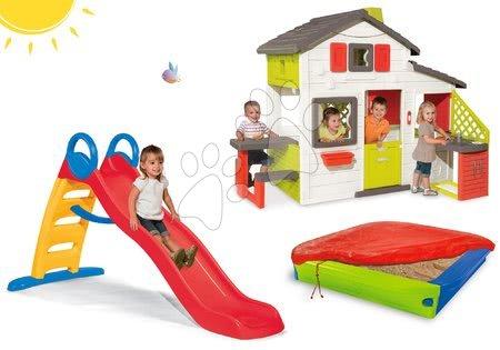 Komplet hišica Prijateljev Smoby s kuhinjo in tobogan z vodometom Funny 2 metrski in peskovnik s prekrivalom