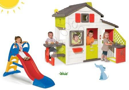 Jucării pentru fetițe - Set căsuţă Prieteni Smoby cu bucătărie mică+tobogan Toboggan KS mediu 1,5 m roşu