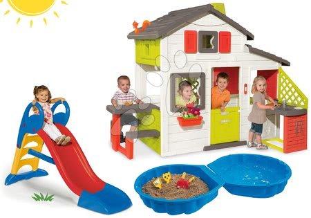 Hračky pre chlapcov - Set domček Priateľov Smoby s kuchynkou a šmykľavka Toboggan KS stredná 1,5 m a pieskovisko mušľa
