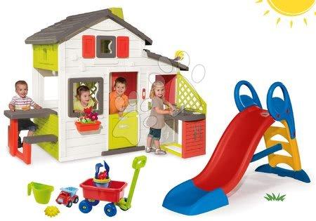 Hračky pre chlapcov - Set domček Priateľov Smoby s kuchynkou a šmykľavka Toboggan KS stredná a vozík na ťahanie