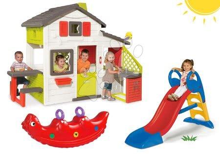 Jucării pentru fetițe - Set căsuţă Prieteni Smoby cu bucătărie mică și tobogan Toboggan KS mediu şi balansoar dinozaur